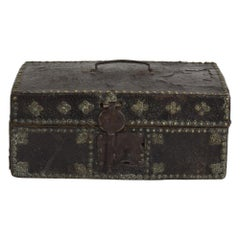 Small 17th Century, French Coffer or Box in Leather