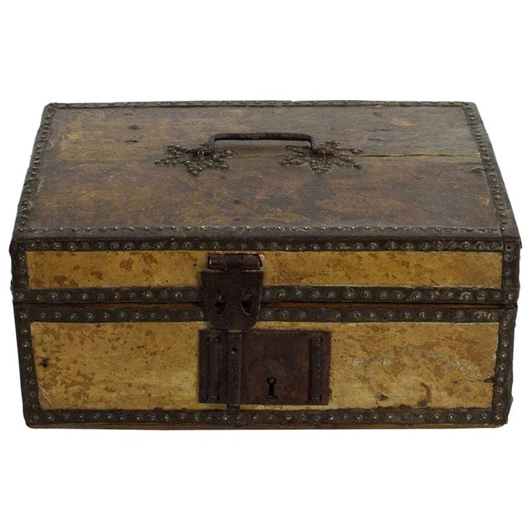 Small 17th Century, French Coffer or Box in Leather For Sale