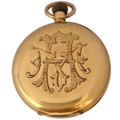 Small 18 Karat Gold Antique Hand Winding Pocket Watch
