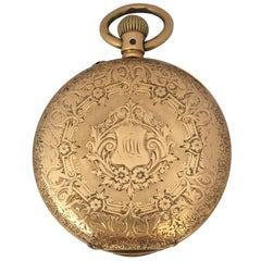 Small 18 Karat Gold Full Engraved Case Hand Winding Ladies Pocket Watch
