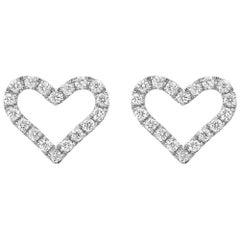 Small 18 Karat White Gold and Diamond Heart Earstuds