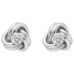 Small 18 Karat White Gold and Diamond Knot Earstuds
