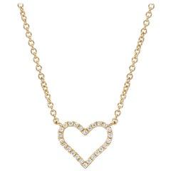 Small 18 Karat Yellow Gold and Diamond Heart Pendant