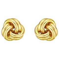 Small 18 Karat Yellow Gold Knot Earstuds