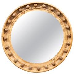 Small 1880s English Oak Convex Bullseye Girandole Mirror with Natural Finish