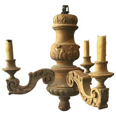 Small 1890s French Carved Wood Chandelier
