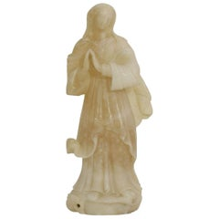 Small 18th-19th Century French Carved Alabaster Madonna