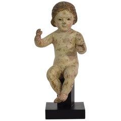 Small 18th Century Carved Baroque Spanish Baby Christ, Nino, Santo