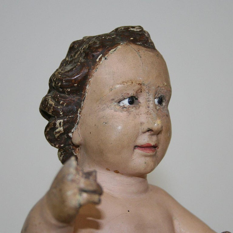 Small 18th Century Carved Baroque Spanish Christ, Nino, Santo For Sale 4