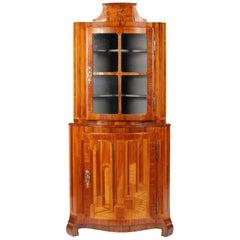 Small 18th Century Corner Cupboard, Architectural Marquetry, Italy, Walnut
