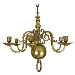 Small 18th Century Dutch Brass Six-Light Chandelier