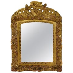 Small 18th Century French Baroque Giltwood Mirror