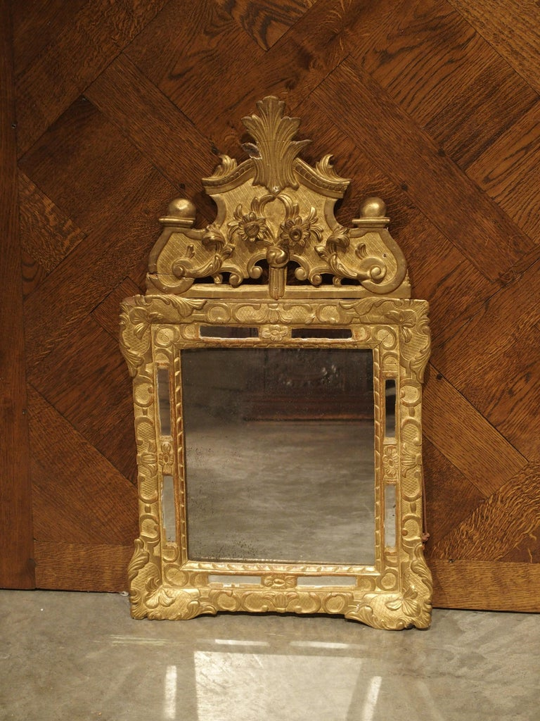"""Small 18th Century French Giltwood Mirror """"a Parcloses"""" from Provence 9"""