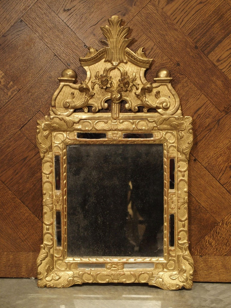 """Small 18th Century French Giltwood Mirror """"a Parcloses"""" from Provence 12"""
