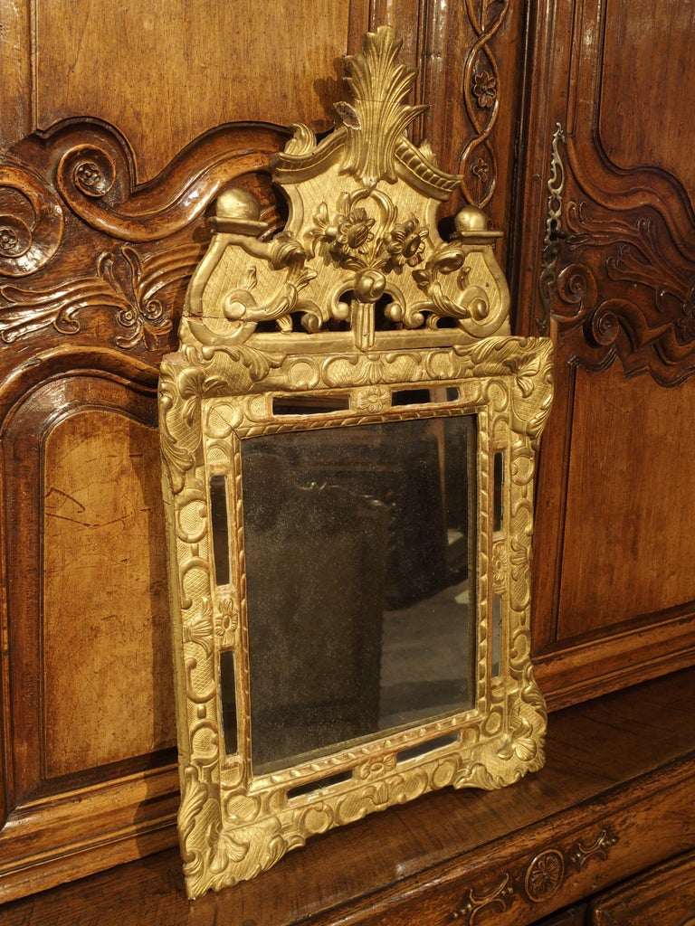 """Regency Small 18th Century French Giltwood Mirror """"a Parcloses"""" from Provence"""