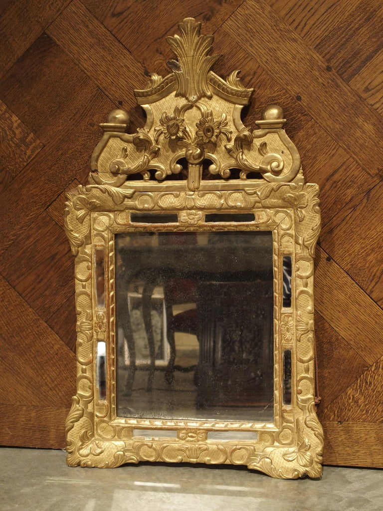 """Small 18th Century French Giltwood Mirror """"a Parcloses"""" from Provence In Good Condition In Dallas, TX"""