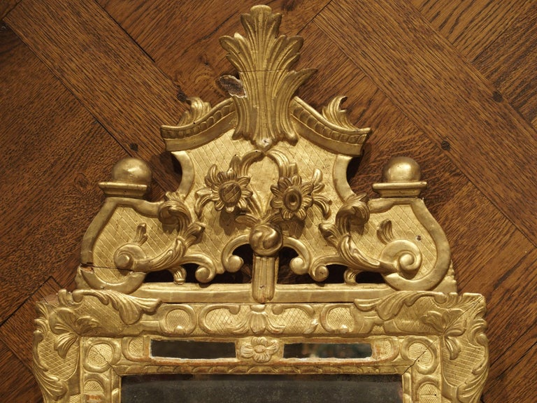 """Small 18th Century French Giltwood Mirror """"a Parcloses"""" from Provence 1"""