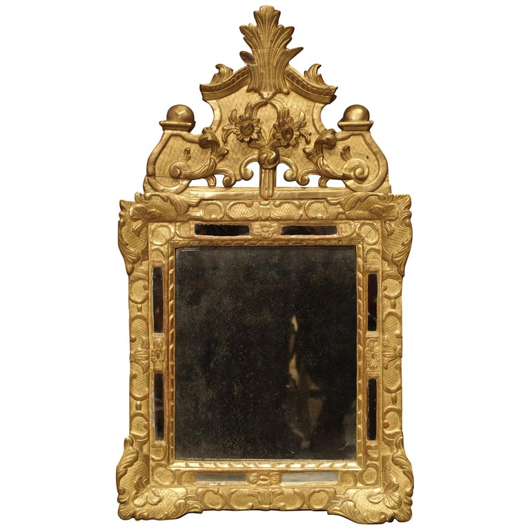 """Small 18th Century French Giltwood Mirror """"a Parcloses"""" from Provence"""