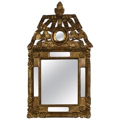 Small 18th Century French Louis XV Baroque Giltwood Mirror