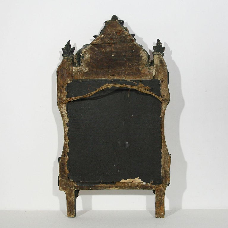 18th Century and Earlier Small 18th Century French Louis XVI Giltwood Mirror For Sale