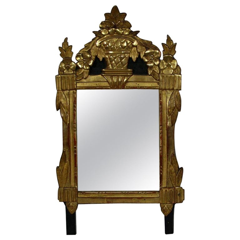 Small 18th Century French Louis XVI Giltwood Mirror For Sale