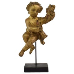 Small 18th Century Italian Carved Baroque Wooden Angel