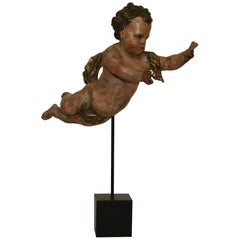 Small 18th Century Italian Carved Wooden Baroque Angel