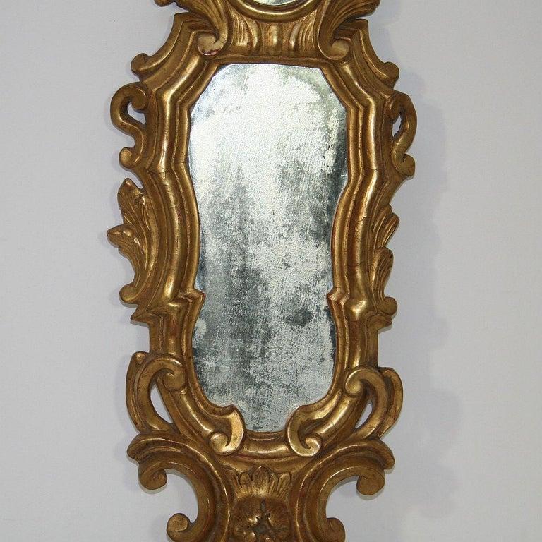 18th Century and Earlier Small 18th Century Italian Giltwood Baroque Mirror