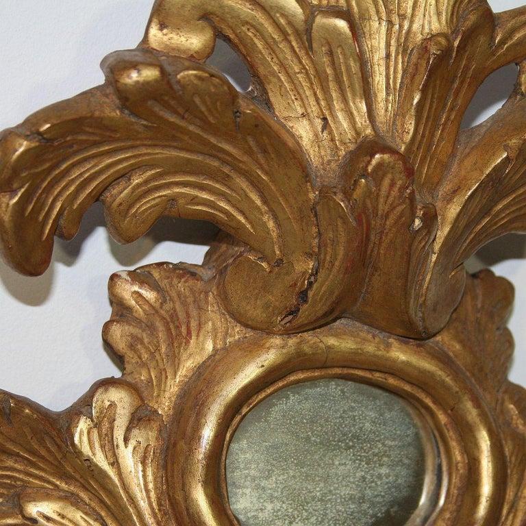 Small 18th Century Italian Giltwood Baroque Mirror 1