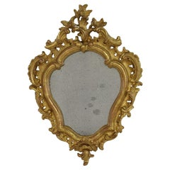Small 18th Century Italian Giltwood Baroque Mirror
