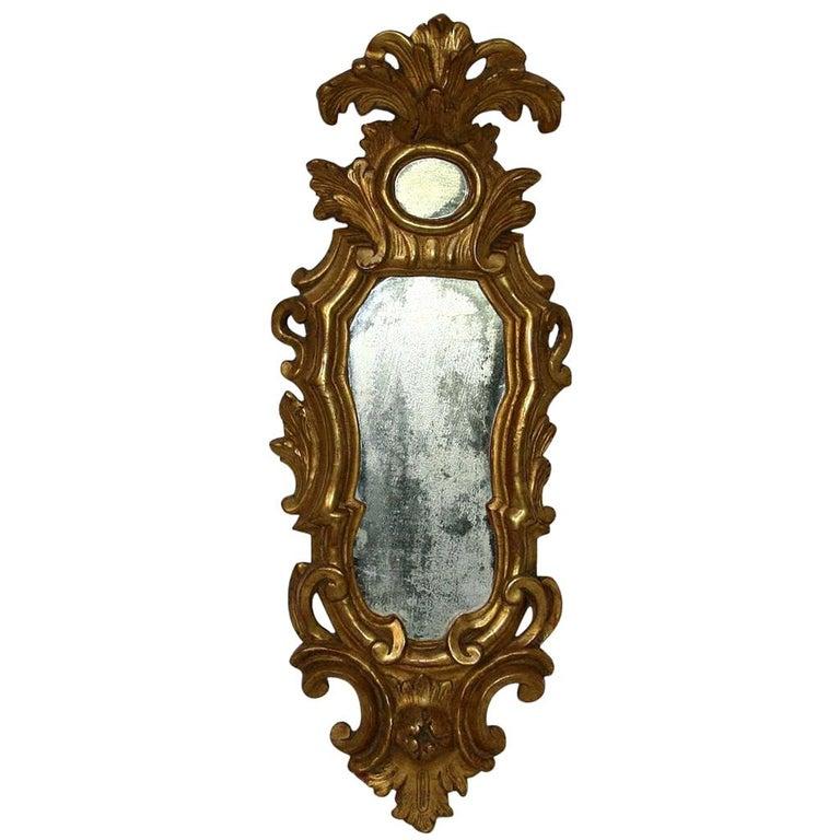 Small 18th Century Italian Giltwood Baroque Mirror