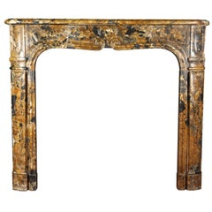 Small 18th Century Italian Original Antique Marble Fireplace Surround