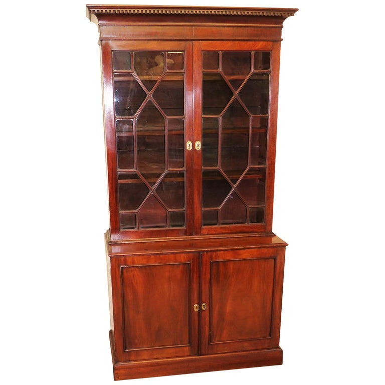 Small 18th Century Mahogany Cupboard Base Bookcase For Sale