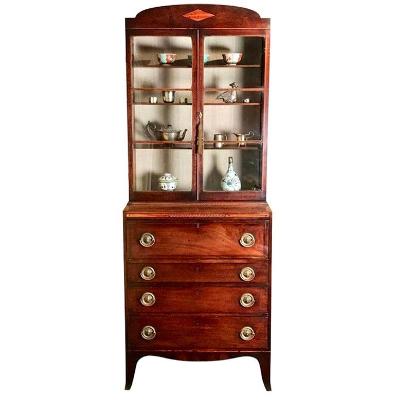 Small 18th Century Mahogany Secretaire Bookcase For Sale