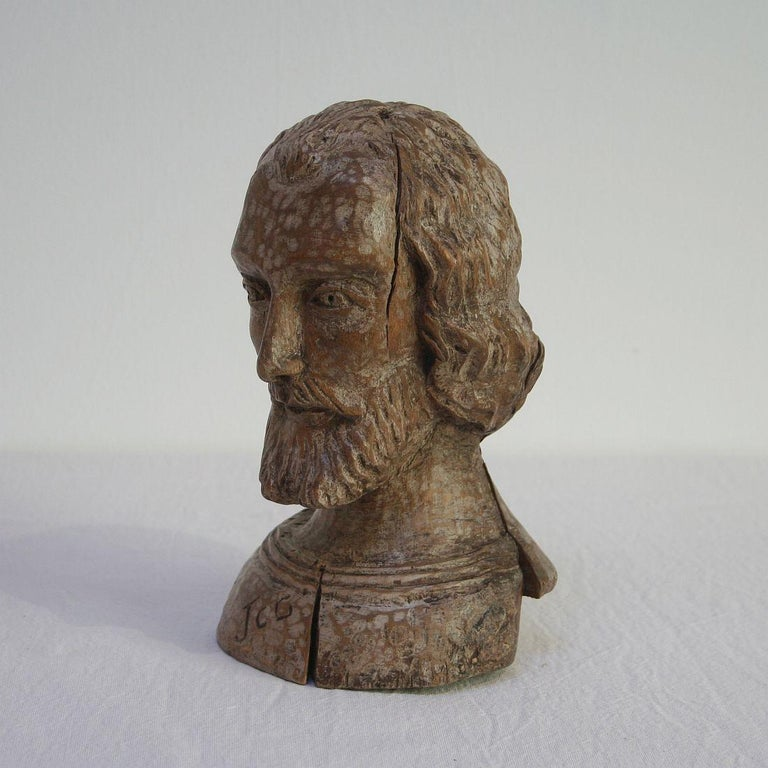 Beautiful Folk Art reliquary bust, Spain 18th century. Weathered, small losses and old repairs.