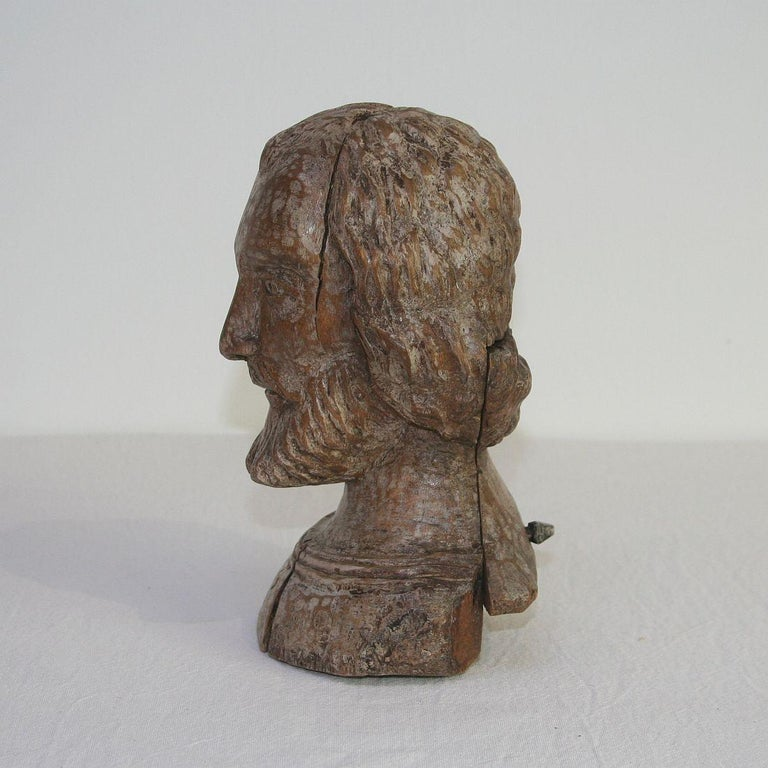 Wood Small 18th Century Spanish Reliquary Bust For Sale
