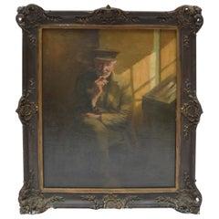Small 19 Century Portrait of an Old Man Smokinga Pipe by Henri Van Melle