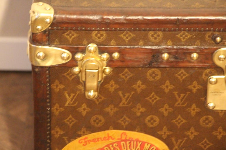 French Small 1920s Louis Vuitton Monogram Steamer Trunk For Sale