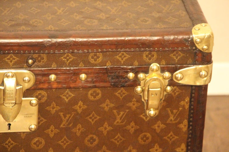 Early 20th Century Small 1920s Louis Vuitton Monogram Steamer Trunk For Sale