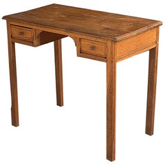 Small 1940 Oak Desk from France 1940, in a Brown Color and Old Patina, 2 Drawers