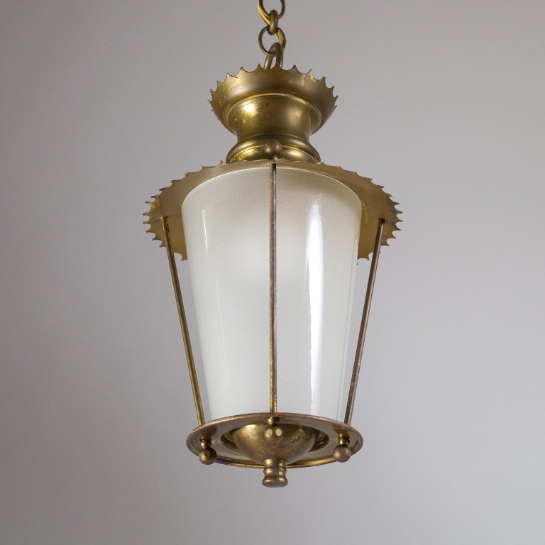 Small 1940s French Brass Lantern For Sale 4