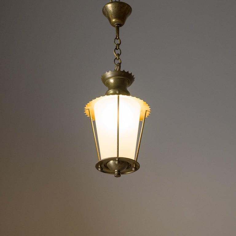 Mid-Century Modern Small 1940s French Brass Lantern For Sale
