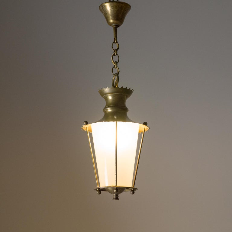 Frosted Small 1940s French Brass Lantern For Sale