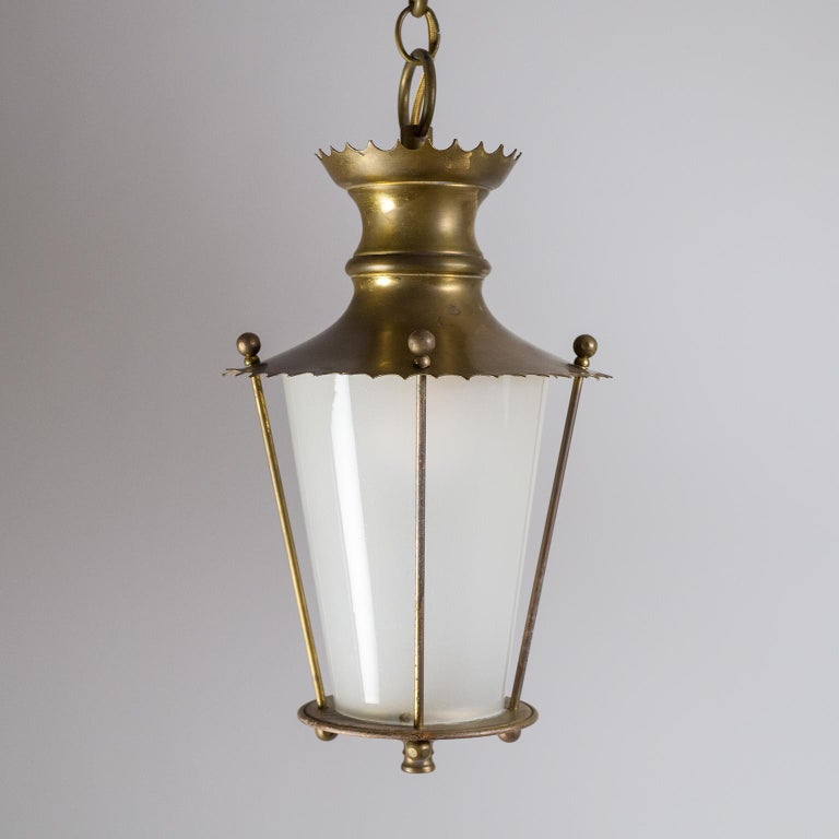 Mid-20th Century Small 1940s French Brass Lantern For Sale