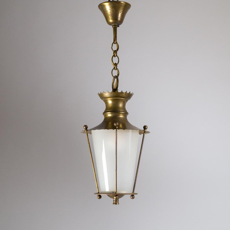 Small 1940s French Brass Lantern For Sale 1