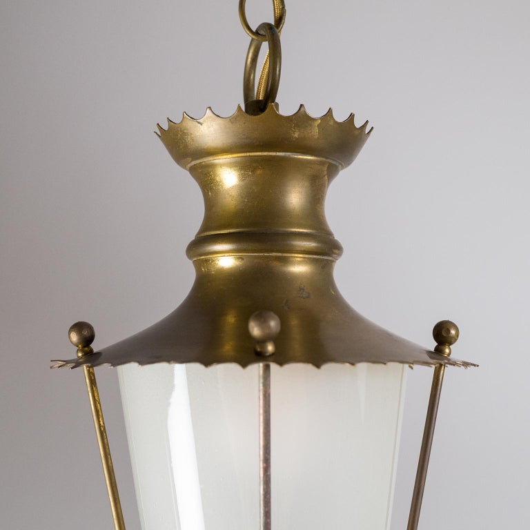 Small 1940s French Brass Lantern For Sale 2