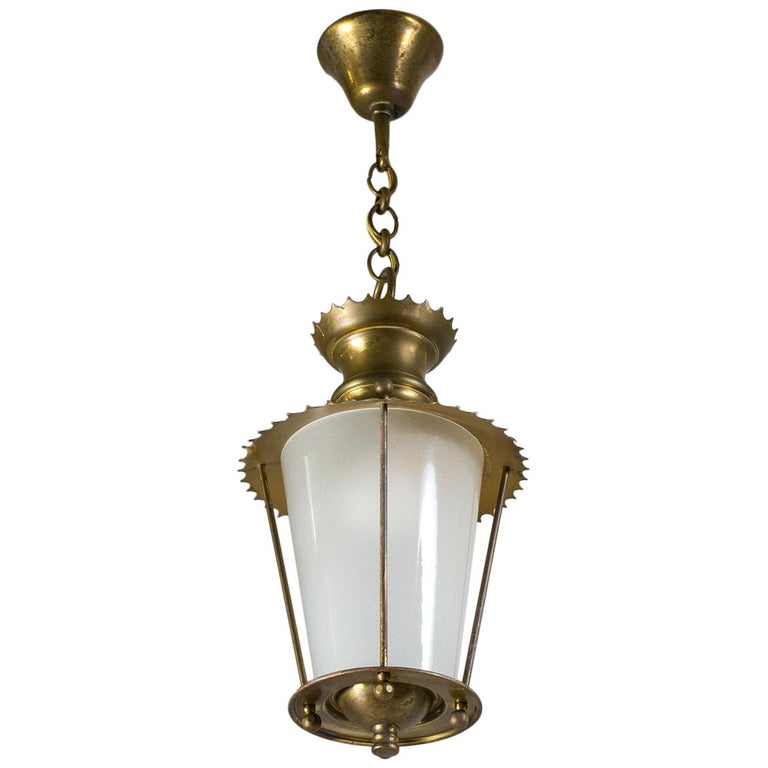 Small 1940s French Brass Lantern For Sale