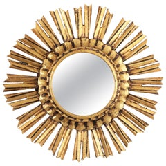 Small 1940s French Carved Giltwood Sunburst Mirror