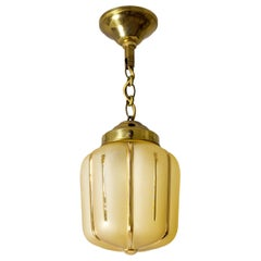Small 1940s French Pendant, Amber Glass and Gold Paint