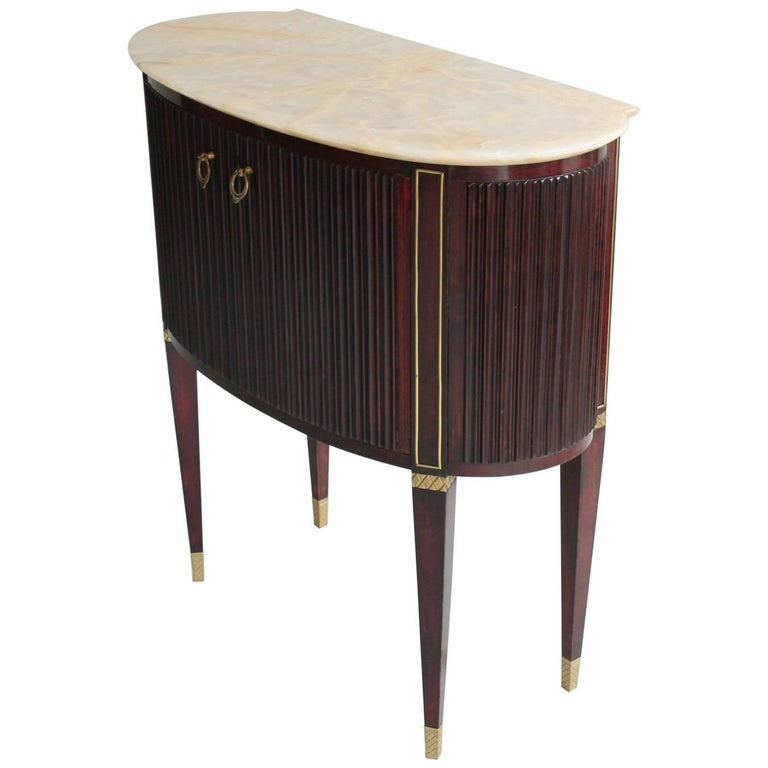 Small 1940s Italian Cabinet Onyx Top and Brass, Attributed to Paolo Buffa For Sale